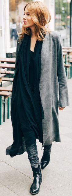 Grey Long Pinstriped Coat Fall Streetstyle Inspo                                                                             Source