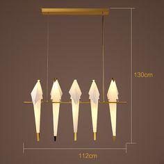 Postmodernen origami bird led pendelleuchte for living room dining bar restaurant designer creative plated iron pp lamp