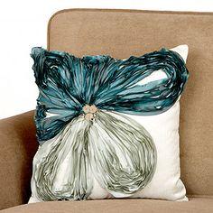Jade Porcelain Off-Center Flower Toss Pillow Teal Pillows, Cute Pillows, Throw Cushions, Diy Pillows, Decorative Pillows, Flower Pillow, Butterfly Pillow, Sewing Pillows, Pillow Design