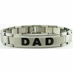 "Stainless Steel ""Dad"" Bracelet Abernook. $48.00. Keep dad stylish with this fun style gift bracelet.. Our Stainless Steel Dad bracelet is a great gift for Dad's first Father's Dad,. returning dads, birthday gifts and holiday gift ideas.. Stainless Steel Dad Id Bracelet"