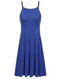 Meaneor Damen Sommer Ärmellos Kleid Trägerkleid Spaghettikleid Strandkleid  Swing Falten Shirt Kleid mit Trägern  Amazon fdaf81e94b