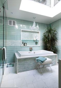 Sea glass blue bathroom and spa