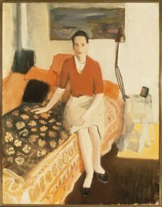 """Jane Wilson in Red,"" Fairfield Porter, ca. 1957, oil on canvas, 52 x 42"", The Rose Art Museum."
