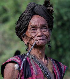 Pipe smoking grandma . Arunachal Pradesh