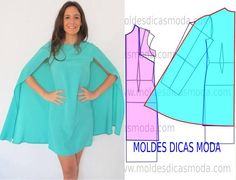 "Cape/ capa dress ""Discover thousands of images about ModelistA: NUM 0062 CAPE"" Dress Sewing Patterns, Blouse Patterns, Clothing Patterns, Diy Clothing, Sewing Clothes, Fashion Sewing, Diy Fashion, Robe Diy, Costura Fashion"