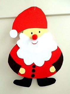 Santa for hanging or with a sack - Christmas crafts - My grandchildren and ic . Craft Projects For Kids, Easy Crafts For Kids, Christmas Crafts For Kids, All Things Christmas, Holiday Crafts, Art For Kids, Office Christmas, Noel Christmas, Christmas Cards