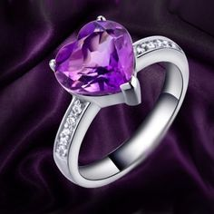 New 1.5 CT Romantic Amethyst Heart  Cubic Zirconia 925 Sterling Silver Ring For Women