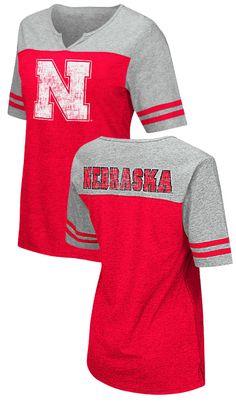650303fae Nebraska Cornhuskers Juniors Sized V Neck T Shirt- On A Break-Red $29.95  Nebraska