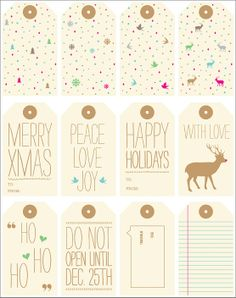Free printable Christmas tags.. love the vintage style! Visit the blog for many more!.. Printing on cardstock this afternoon