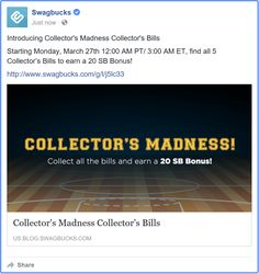 #SwagBucks New Collector's Madness #CollectorsBills https://facebook.com/37122264757/posts/10155230602614758 #ezswag #havefun #makemoney #savemoney #giftcards #Amazon #Visa #Paypal #Walmart #Target #Lowes #Nike #OldNavy #OverStock #Macys