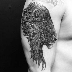 mandala tattoo lion