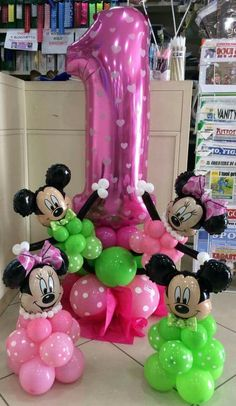 Minnie Mouse themed balloon number for a 1st birthday. Cute!