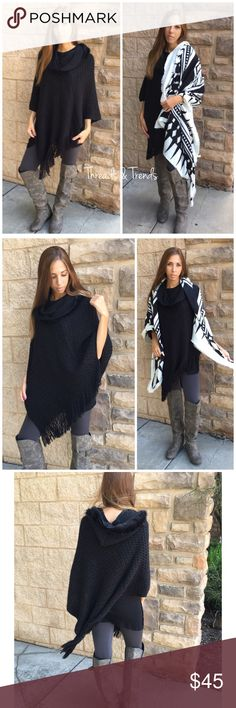 Cowl Neck Hooded Poncho Gorgeous black cowl neck hooded poncho. Featuring soft fur trim around collar and hood. Textured diamond crochet pattern and fringe detail. Once size fits most Threads & Trends Sweaters Shrugs & Ponchos
