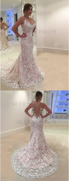 fashion illusion wedding dress with sweep train, bodycon mermaid pink lace bridal dress with appliques