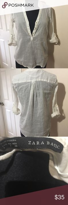 Zara blouse Long sleeve or folded up to 3/4 in sleeve white with gold studded buttons top Zara Tops Blouses