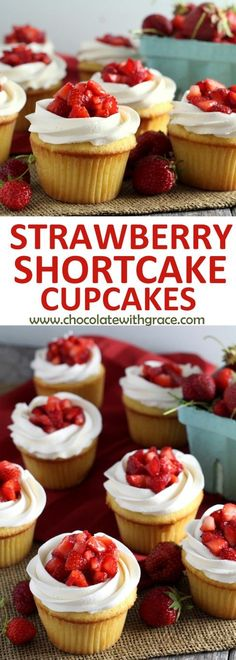Strawberry Shortcake Cupcakes - Yellow cupcakes, whipped vanilla buttercream and. Strawberry Shortcake Cupcakes - Yellow cupcakes, whipped vanilla buttercream and fresh strawberries make these strawberry shortcake cupcakes. Yellow Cupcakes, Yummy Cupcakes, Easter Cupcakes, Gourmet Cupcakes, Christmas Cupcakes, Recipe Of Cupcakes, Short Cake Recipe, Best Cupcakes, Baking Recipes Cupcakes