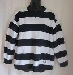 LAUREN RALPH LAUREN Women's Blue White Stripe Sweatshirt Top L Large #LaurenRalphLauren #Pullover #Casual