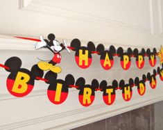 Mickey Mouse Happy Birthday Banner with Yellow Letters Age and Mickey Cutout READY TO SHIP by FeistyFarmersWife