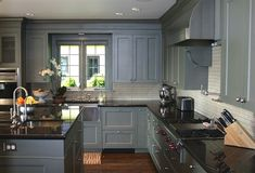 Unique Blue Grey Painted Kitchen Cabinets Blue Gray Kitchen Design With Gray Blue Shaker Kitchen Cabinets Blue Gray Kitchen Cabinets, Dark Grey Kitchen, Kitchen Cabinet Design, Painting Kitchen Cabinets, White Cabinets, Kitchen Paint, Blue Gray Kitchens, Black Counter Top Kitchen, Kitchen With Black Countertops