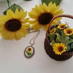 Sunflower Necklace Sunflower Cross Stitch Necklace Cross