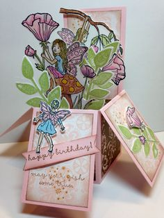 Stampin Up Fairy Celebration Fun Fold Cards, 3d Cards, Folded Cards, Punch Art Cards, Pop Up Box Cards, Card Boxes, Stampin Up Catalog, Stamping Up Cards, Holiday Crafts