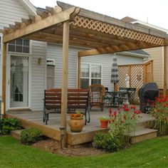 Simple deck with pergola. Perfect for the back deck patio. Small Garden Pergola, Deck With Pergola, Cheap Pergola, Pergola Shade, Pergola Plans, Diy Pergola, Pergola Kits, Backyard Patio, Backyard Landscaping