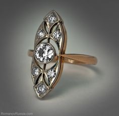 A Vintage Russian Art Deco Diamond Ring c. 1930