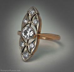 A Vintage Russian Art Deco Diamond Ring c. 1930