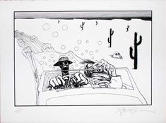 """Ralph Steadman who is also known for a warped and bizarre cartooning style, here is one of his many images that accompany the novel """"Fear and Loathing in Las Vegas."""""""
