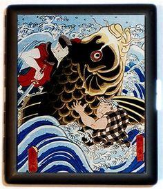 Samurai Wrestling Giant KOI Goldfish Japanese Antique Woodcut Design Kabuke
