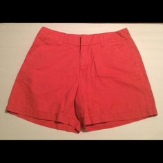 Merona Coral Shorts Coral Shorts 100% cotton. Two front pockets. Trouser style back pockets.  Measurements laying flat waist 15', hips 20', length 15' . EUC Merona Shorts Jean Shorts