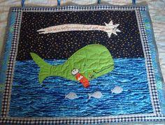 """Wanddeko - Wandquilt """"Jona im Wal"""" - ein Designerstück von Wilhelmine-Wiesenkraut bei DaWanda"""