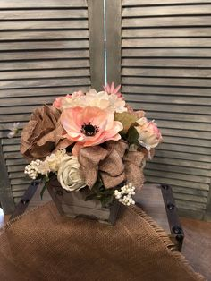 FA Vintage Shabby Chic Floral Arrangement, Antique White, Vintage Rose and Cream Centerpiece, Wedding Centerpiece, Mothers Day Gift by SheilasHomeCreations on Etsy