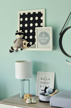 Our teal, grey, black, white and yellow modern industrial nursery with clouds.