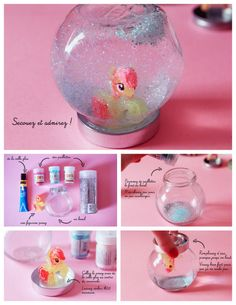 DIY My Little Pony Snow Globe Tutorial from Poulette Magique.This My Little Pony., DIY My Little Pony Schneekugel Tutorial von Poulette Magique.Diese My Little Pony Schneekugel ist wie alle anderen gemacht. Snow Globe Crafts, Diy Snow Globe, Snow Globes, My Little Pony Birthday Party, Unicorn Birthday Parties, 5th Birthday, Jar Crafts, Diy Crafts For Kids, Bottle Crafts