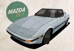 Mazda RX-7 illustration. Download at castrolrestorations.com