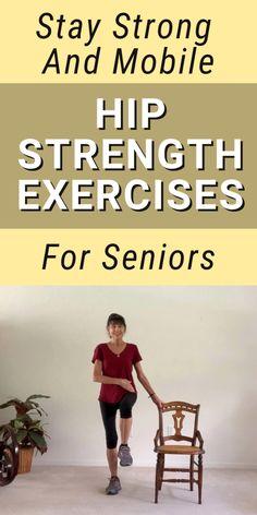Hip Bursitis Exercises, Hip Mobility Exercises, Hip Strengthening Exercises, Balance Exercises, Chair Exercises, Stretches, Exercises For Hips, Core Exercises, Fitness Workout For Women
