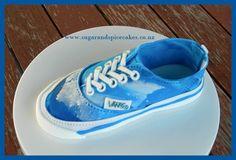 Vans Denim shoe cake topper made from fondant http://www.sugarandspicecakes.co.nz/