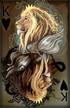 king of hearts by Decadia on deviantART Lion Wallpaper, Lion Pictures, Lion Of Judah, Lion Art, Illustration, Lion Tattoo, Mythical Creatures, Lions, Fantasy Art