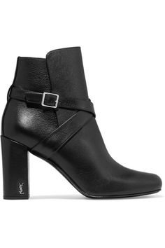 Saint Laurent - Babies Buckled Leather Ankle Boots - Black - IT