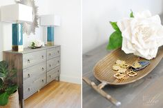 """Inexpensive @IKEAUSA chest transformation from natural pine wood to weathered gray color. Table lamps from @homegoods, starburst """"Reyes"""" mirror from @kenroyhome ."""