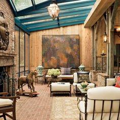 living room - love the glass ceiling for natural light