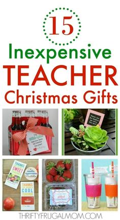 Inexpensive Teacher Christmas Gifts- lots of fun, creative ideas that are both cheap and practical too! Your teacher is sure to love these gifts! Pinned over 90K times!! #thriftyfrugalmom #teachergifts #cheapgifts #christmas Diy Christmas Gifts For Family, Christmas Gifts For Coworkers, Christmas Gift Baskets, Christmas Gift For Daycare Teacher, Homemade Christmas, Christmas Christmas, Christmas Diy Gifts, Santa Gifts, Christmas Morning