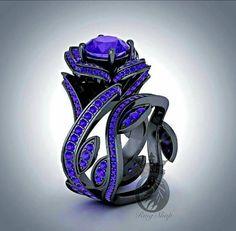 Disney's Villian Maleficent Inspired Rose Black Gold Designer Flower 4.25CTS Amethyst Engagement Ring Set by RazosRingShop on Etsy https://www.etsy.com/listing/242326784/disneys-villian-maleficent-inspired-rose