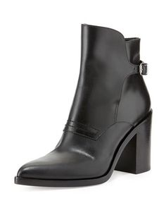 Clarice Leather Pointed-Toe Bootie, Black by Alexander Wang at Bergdorf Goodman.