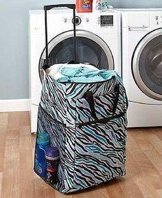 Laundry Hamper Portable Rolling Basket Bag Dorm Clothes Storage Sort Organize