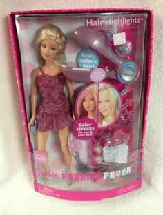 Mattel Barbie Fashion Fever Doll Hair Highlights 2006 glam color streaks new 2