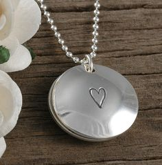 Jewelry, hand stamped personalized locket style necklace with birthstone, $38, http://www.etsy.com/shop/divinestampings