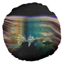 Liquid Vibrations Funky Fish Pillow Round Pillow