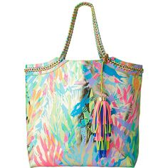 Lilly Pulitzer Lilly Pulitzer Reversible Seaside Tote ($158) ❤ liked on Polyvore featuring bags, handbags, tote bags, multicolor handbags, reversible handbag, reversible tote handbag, tote purses and print tote bags